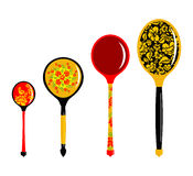 Set of Russian wooden spoons.  Stock Images