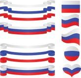 Set russische Farbbänder in den Markierungsfahnenfarben. Lizenzfreies Stockbild