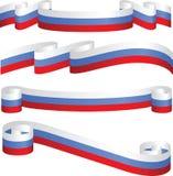 Set russische Farbbänder in den Markierungsfahnenfarben. Stockbild
