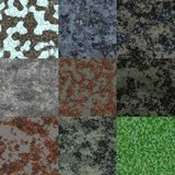 Set of rusted metal generated seamless textures Stock Images
