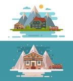 Set of rustic dwellings Royalty Free Stock Photo