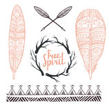 Set rustic logo elements - arrows, branches and feathers. Royalty Free Stock Photography