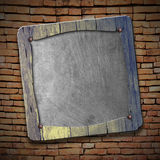 Set 8. rustic wood frame on brick wall. 3d illustration background Stock Photography