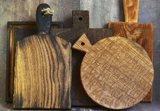 Set of rustic wooden cutting boards. Set of old rustic wooden cutting boards Stock Photos