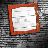 Set 8. rusty metal frame on brick wall. 3d illustration background Royalty Free Stock Photo
