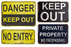 Set of rusty sign isolated on white Royalty Free Stock Photography
