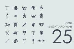 Set rycerza i wojny ikony Obraz Royalty Free