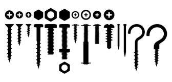 Set rygiel dokrętek gwoździe royalty ilustracja