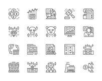 Set rynek papierów wartościowych linii ikony Byk, Niedźwiadkowy rynek, handlowiec, dywidenda i więcej, royalty ilustracja