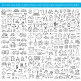 Set rysujący ręka doodles na różnych tematach Zdjęcie Royalty Free