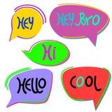 Set rysujący ręka gulgocze z słowami powszechnie używany w gawędzeniu Barwiący rozmowa balony Odizolowywaj?cy na bielu royalty ilustracja