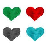 Set rysujący ręka malował kolorowego serce, piękny element dla Obraz Stock