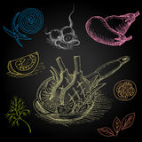 Set rysujący na blackboard jedzeniu kolor kreda Fotografia Royalty Free