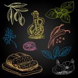 Set rysujący na blackboard jedzeniu kolor kreda Zdjęcie Royalty Free