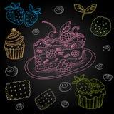Set rysujący na blackboard jedzeniu kolor kreda Obraz Stock