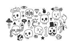 Set rysunki czaszki royalty ilustracja