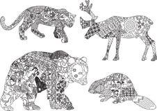 Set rysunki zwierzęta w etnicznym Fotografia Royalty Free