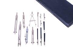 Set rysunkowi metali kompasy w czarnym pudełku Zdjęcia Stock