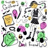 Set rzeczy dziewczyna, rysunkowy pióro Zdjęcia Stock