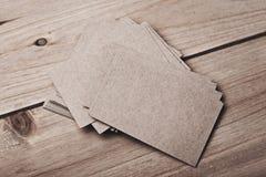 Set rzemiosło wizytówki na drewno stole horyzontalny Zdjęcie Royalty Free