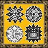Set słońce antyczni amerykańsko-indiański wzory Fotografia Stock