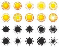 Set słońce ikony odizolowywać na białym tle Zdjęcia Royalty Free