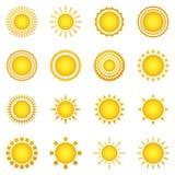 Set słońce ikony odizolowywać na białym tle Obrazy Stock