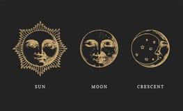 Set słońce, księżyc i półksiężyc, ręka rysująca w rytownictwo stylu Wektorowej grafiki retro ilustracje royalty ilustracja