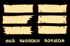 Set s design elements wooden boards  on black background Royalty Free Stock Photography