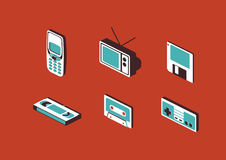 Set of 90s Devices Gadget Icons Vector Illustration Royalty Free Stock Image