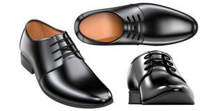 Set s moda murzynów ` eleganccy buty 3d odpłacają się rzemienni męscy buty odizolowywający na białym tle dla ilustracja wektor