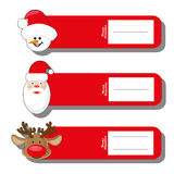 Set s pattern for label Christmas type with face Santa Claus, deer and snowman isolated on white background Royalty Free Stock Photo