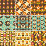 Set of 70s Seamless Patterns Design Stock Images