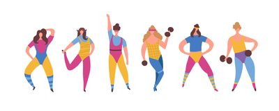 Set of 80s years woman girl in aerobics outfit doing workout shaping. With dumbbells in hand isolated on white background. Trendy 80-s years retro sport stock illustration