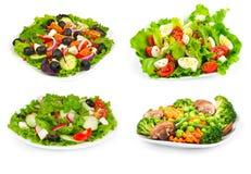 Set sałatka z świeżymi warzywami zdjęcie royalty free