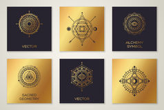 Set of Sacred Geometry Minimal Geometric Shapes. Black and Gold Color Trendy Hipster Icons and Logo, Business Sign or Label. Vector Illustration Stock Photography