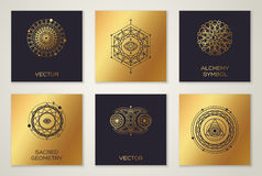 Set of Sacred Geometry Minimal Geometric Shapes. On Cards. Black and Gold Alchemy Symbols, Occult and Mystic Signs. Forms with Eye, Moon and Sun Stock Images