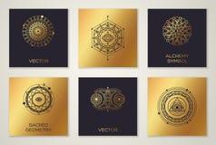 Set of Sacred Geometry Minimal Geometric Shapes stock illustration