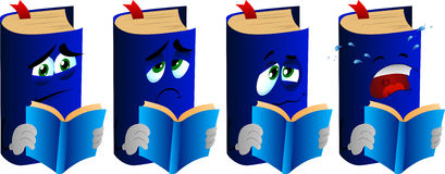 Set of sad book reading Royalty Free Stock Images