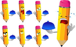 Set of sad chef pencils with ok sign Royalty Free Stock Images