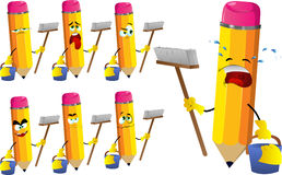 Set of sad cleaning pencils Royalty Free Stock Photo
