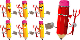 Set of sad devil pencils holding an envelope Stock Images