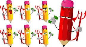 Set of sad devil pencils with money Royalty Free Stock Photography