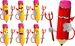 Set of sad devil pencils pointing at viewer Royalty Free Stock Photography