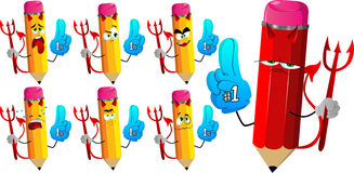 Set of sad devil pencils sports fan with glove Stock Photography