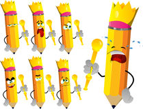 Set of sad pencil kings Stock Images
