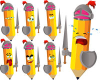 Set of sad pencil knights Stock Images