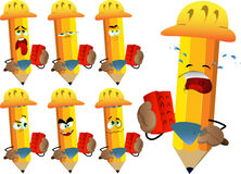 Set of sad pencils as bricklayer with brick and trowel Stock Photo