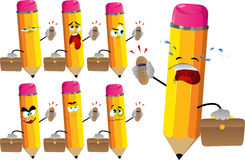 Set of sad pencils as businessman with phone Royalty Free Stock Photo