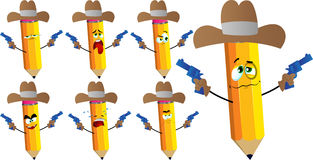 Set of sad pencils as cowboy with gun Stock Photos